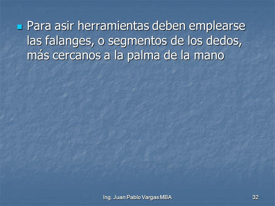 Ing. Juan Pablo Vargas MBA32 Para asir herramientas deben emplearse las falanges, o segmentos de los dedos, más cercanos a la palma de la mano Para as