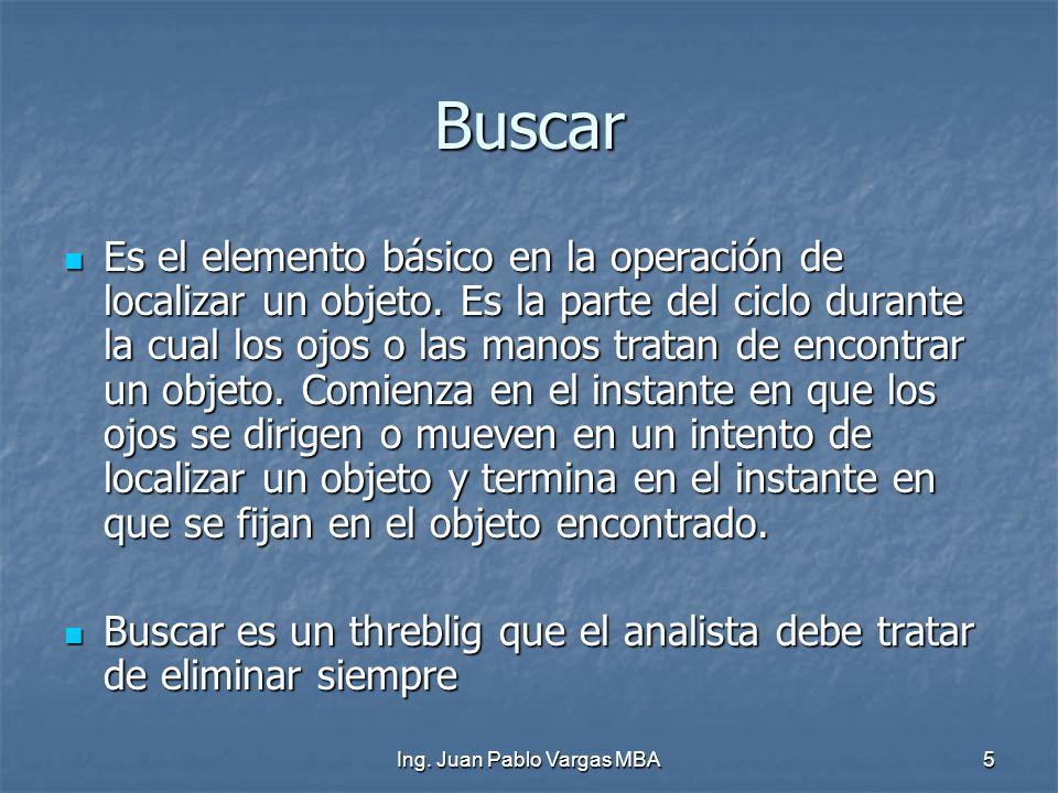 5 Buscar Es el elemento básico en la operación de localizar un objeto. Es la parte del ciclo durante la cual los ojos o las manos tratan de encontrar