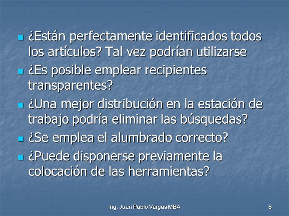 Ing. Juan Pablo Vargas MBA6 ¿Están perfectamente identificados todos los artículos? Tal vez podrían utilizarse ¿Están perfectamente identificados todo