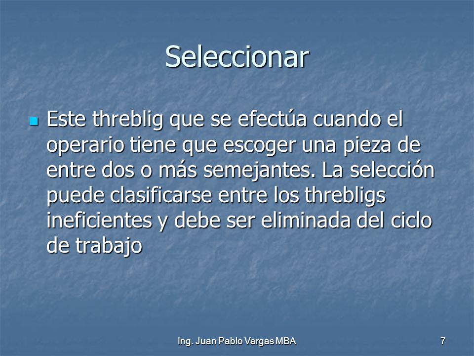 Ing. Juan Pablo Vargas MBA7 Seleccionar Este threblig que se efectúa cuando el operario tiene que escoger una pieza de entre dos o más semejantes. La