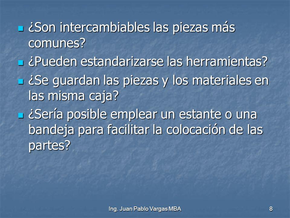 Ing. Juan Pablo Vargas MBA8 ¿Son intercambiables las piezas más comunes? ¿Son intercambiables las piezas más comunes? ¿Pueden estandarizarse las herra