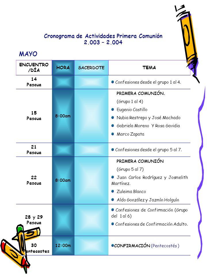Cronograma de Actividades Primera Comunión 2.003 – 2.004 MAYO ENCUENTRO /DÍA HORA SACERDOTE TEMA 14 Pascua Confesiones desde el grupo 1 al 4. 15 Pascu