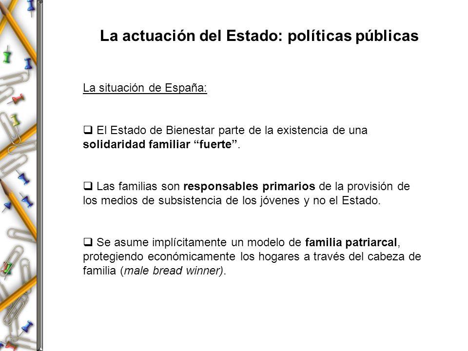 La actuación del Estado: políticas públicas La situación de España: El Estado de Bienestar parte de la existencia de una solidaridad familiar fuerte.