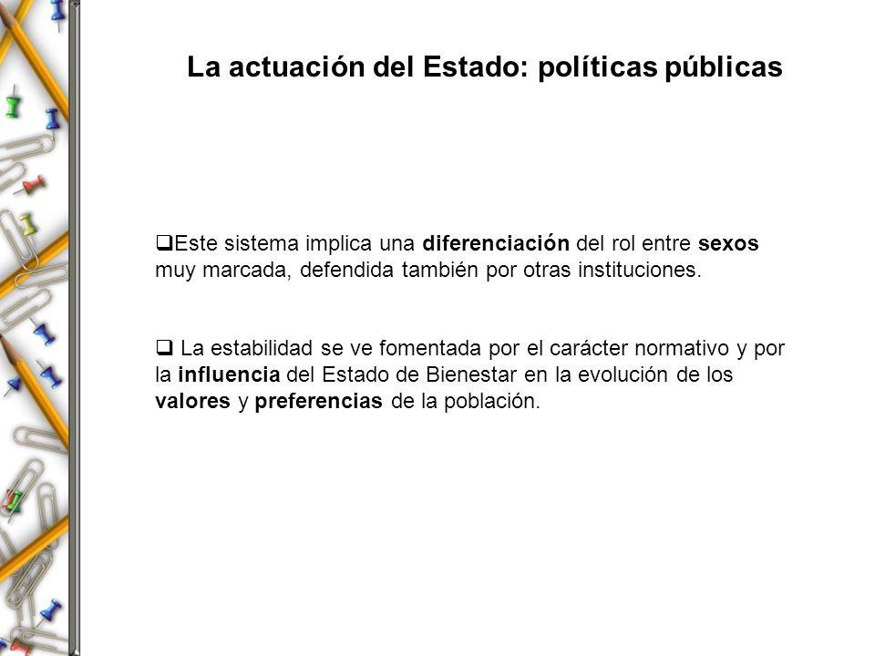 La actuación del Estado: políticas públicas Este sistema implica una diferenciación del rol entre sexos muy marcada, defendida también por otras insti