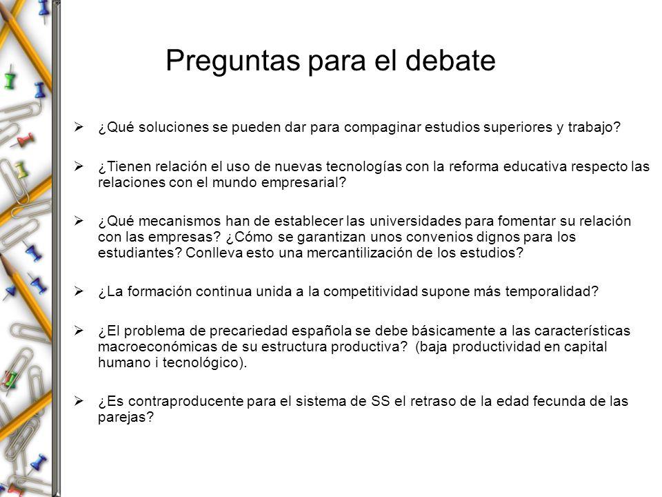 Preguntas para el debate ¿Qué soluciones se pueden dar para compaginar estudios superiores y trabajo? ¿Tienen relación el uso de nuevas tecnologías co
