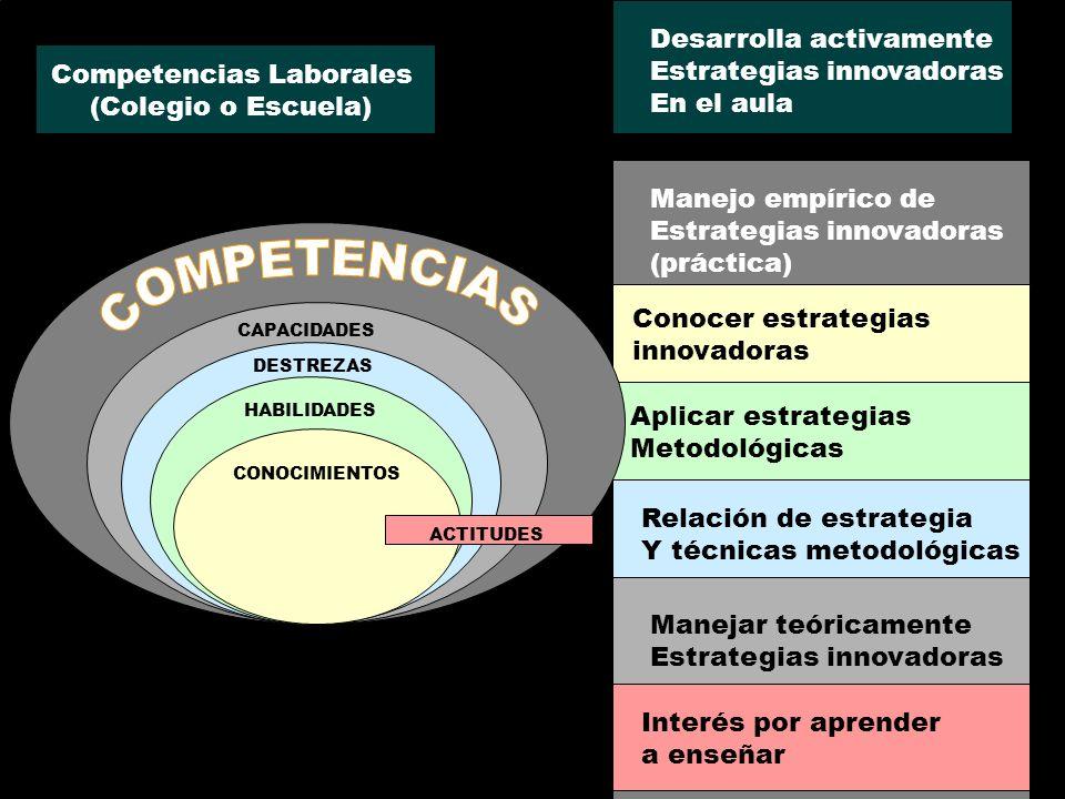 Manejo empírico de Estrategias innovadoras (práctica) Manejar teóricamente Estrategias innovadoras Relación de estrategia Y técnicas metodológicas Apl
