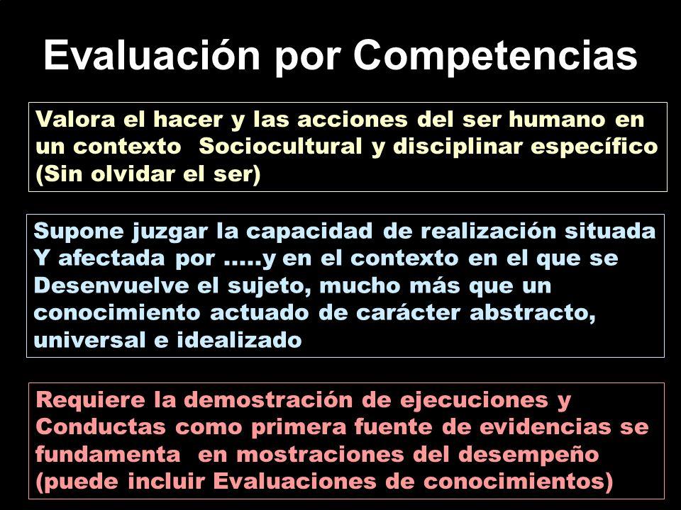 Evaluación por Competencias Valora el hacer y las acciones del ser humano en un contexto Sociocultural y disciplinar específico (Sin olvidar el ser) S