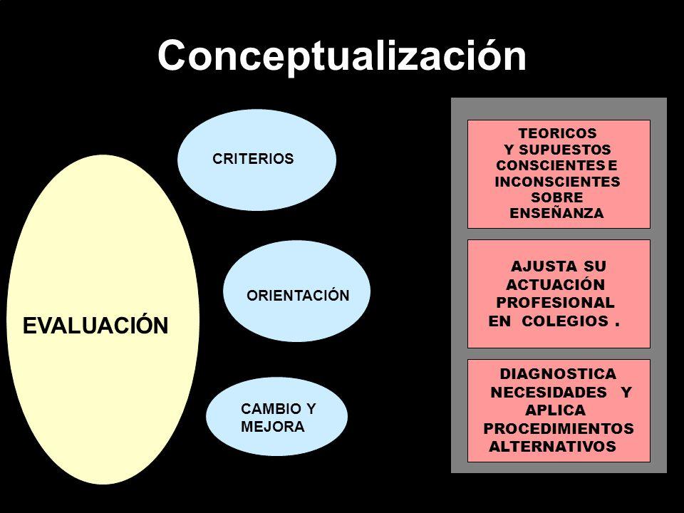 Conceptualización EVALUACIÓN CRITERIOS ORIENTACIÓN CAMBIO Y MEJORA TEORICOS Y SUPUESTOS CONSCIENTES E INCONSCIENTES SOBRE ENSEÑANZA AJUSTA SU ACTUACIÓ