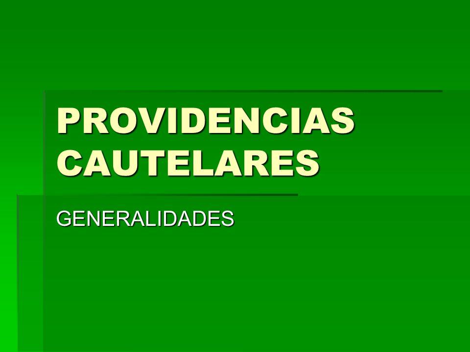PROVIDENCIAS CAUTELARES GENERALIDADES