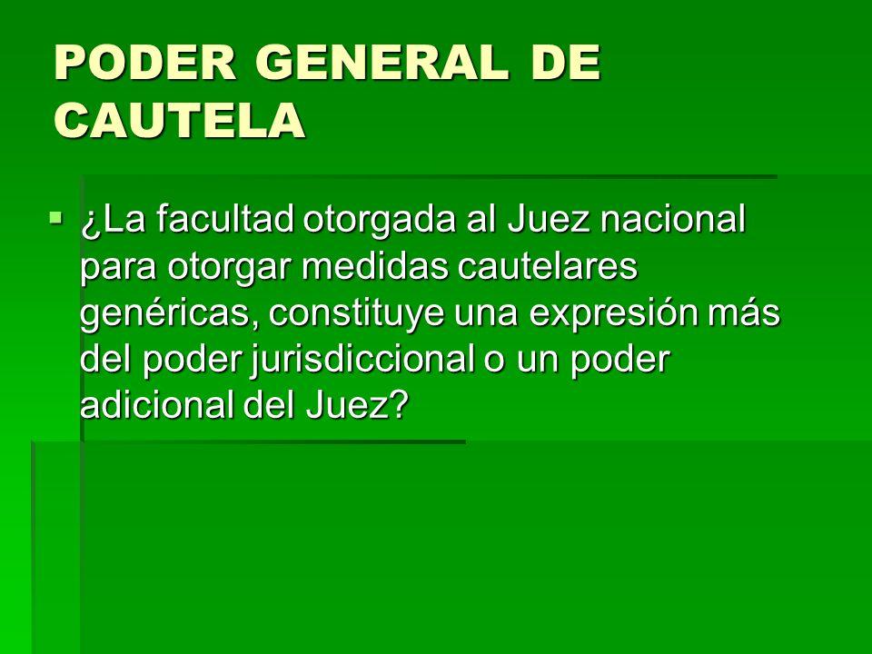 PODER GENERAL DE CAUTELA ¿La facultad otorgada al Juez nacional para otorgar medidas cautelares genéricas, constituye una expresión más del poder juri