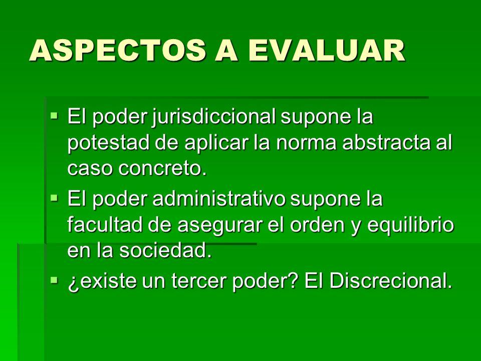 ASPECTOS A EVALUAR El poder jurisdiccional supone la potestad de aplicar la norma abstracta al caso concreto. El poder jurisdiccional supone la potest