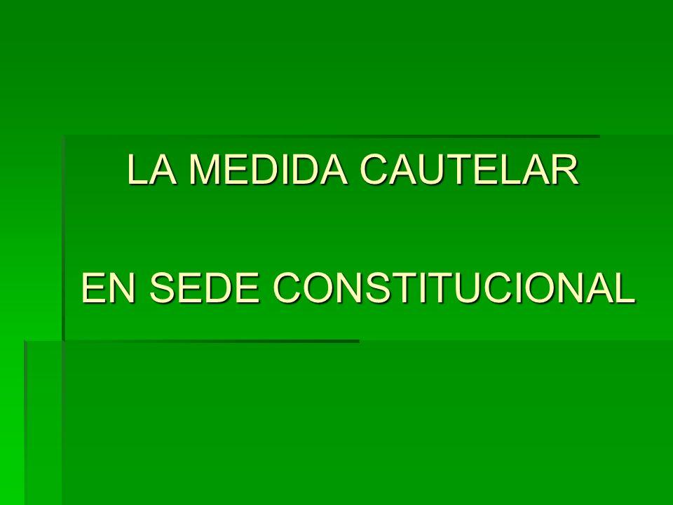 LA MEDIDA CAUTELAR LA MEDIDA CAUTELAR EN SEDE CONSTITUCIONAL EN SEDE CONSTITUCIONAL