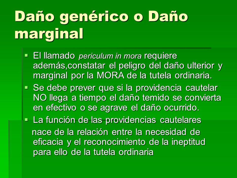 Daño genérico o Daño marginal El llamado periculum in mora requiere además,constatar el peligro del daño ulterior y marginal por la MORA de la tutela