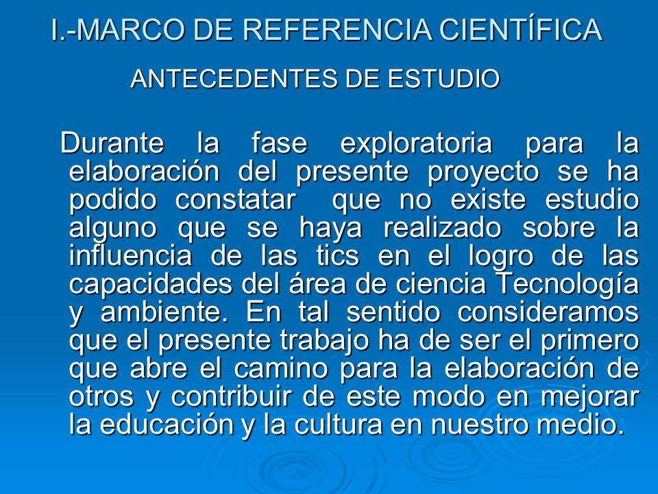 I.-MARCO DE REFERENCIA CIENTÍFICA ANTECEDENTES DE ESTUDIO ANTECEDENTES DE ESTUDIO Durante la fase exploratoria para la elaboración del presente proyec
