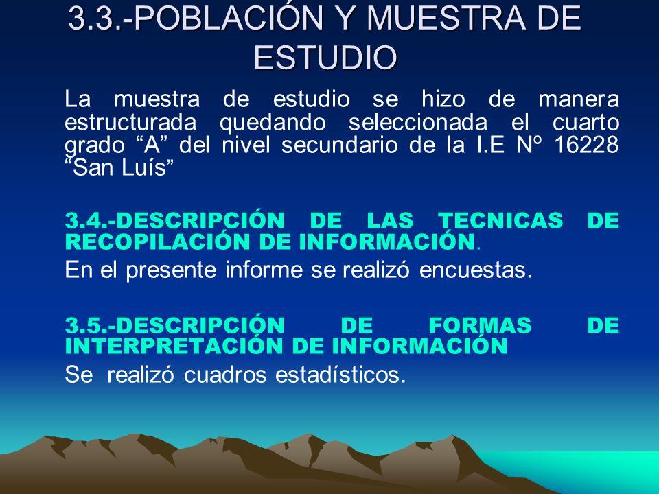3.3.-POBLACIÓN Y MUESTRA DE ESTUDIO 3.3.-POBLACIÓN Y MUESTRA DE ESTUDIO La muestra de estudio se hizo de manera estructurada quedando seleccionada el
