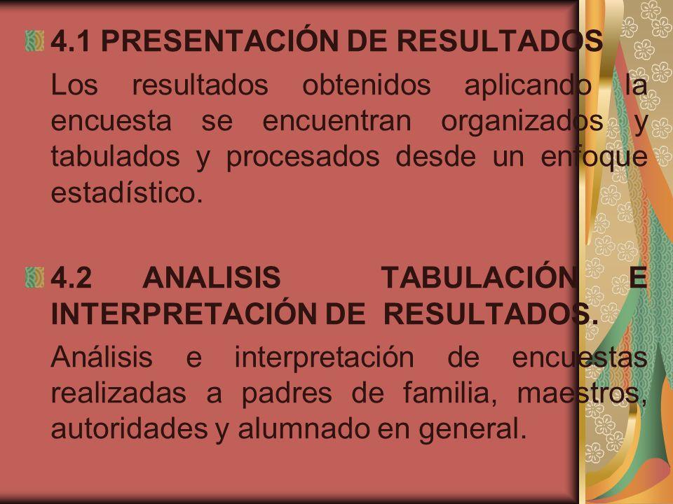 4.1 PRESENTACIÓN DE RESULTADOS Los resultados obtenidos aplicando la encuesta se encuentran organizados y tabulados y procesados desde un enfoque esta