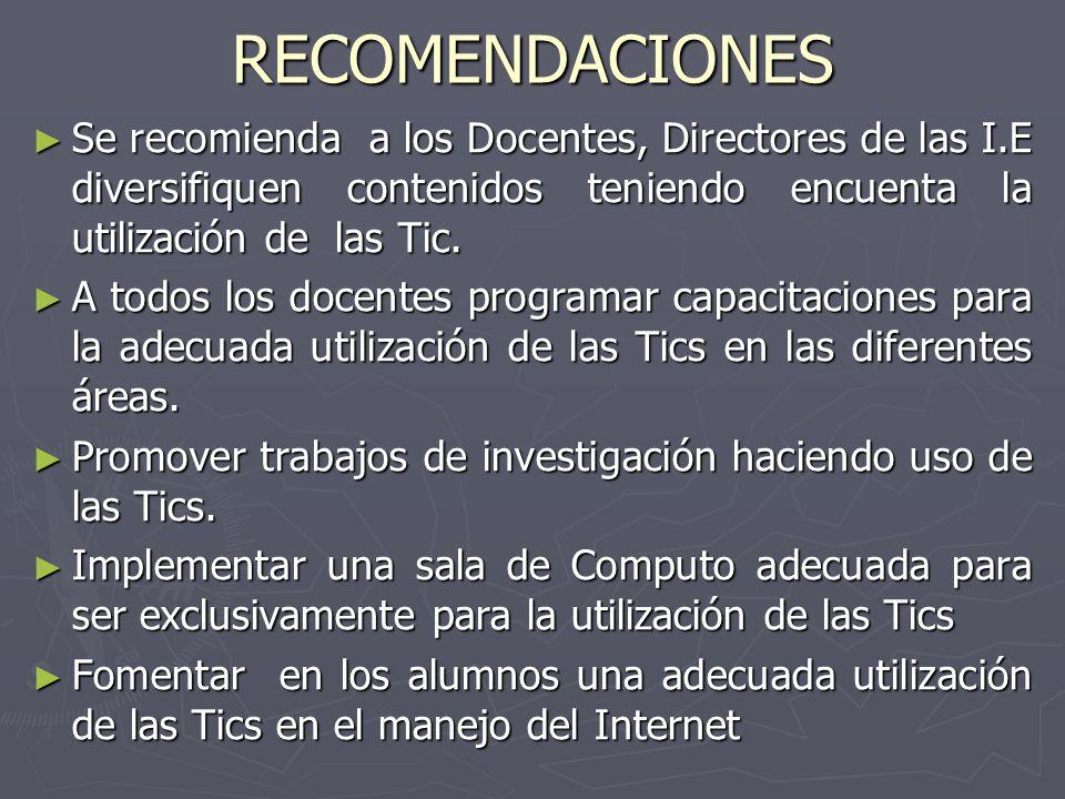 RECOMENDACIONES Se recomienda a los Docentes, Directores de las I.E diversifiquen contenidos teniendo encuenta la utilización de las Tic. Se recomiend