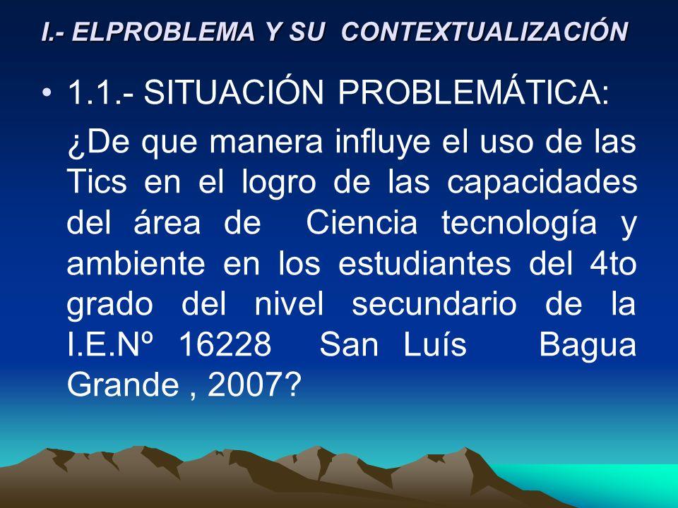 I.- ELPROBLEMA Y SU CONTEXTUALIZACIÓN 1.1.- SITUACIÓN PROBLEMÁTICA: ¿De que manera influye el uso de las Tics en el logro de las capacidades del área