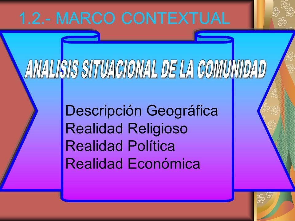 Descripción Geográfica Realidad Religioso Realidad Política Realidad Económica 1.2.- MARCO CONTEXTUAL