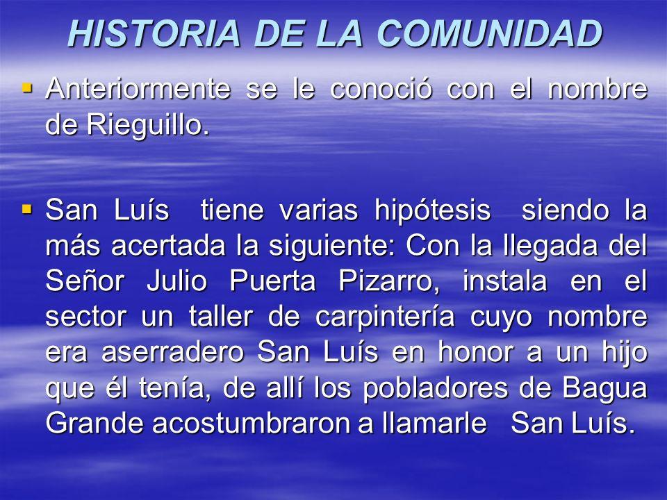 HISTORIA DE LA COMUNIDAD Anteriormente se le conoció con el nombre de Rieguillo. Anteriormente se le conoció con el nombre de Rieguillo. San Luís tien