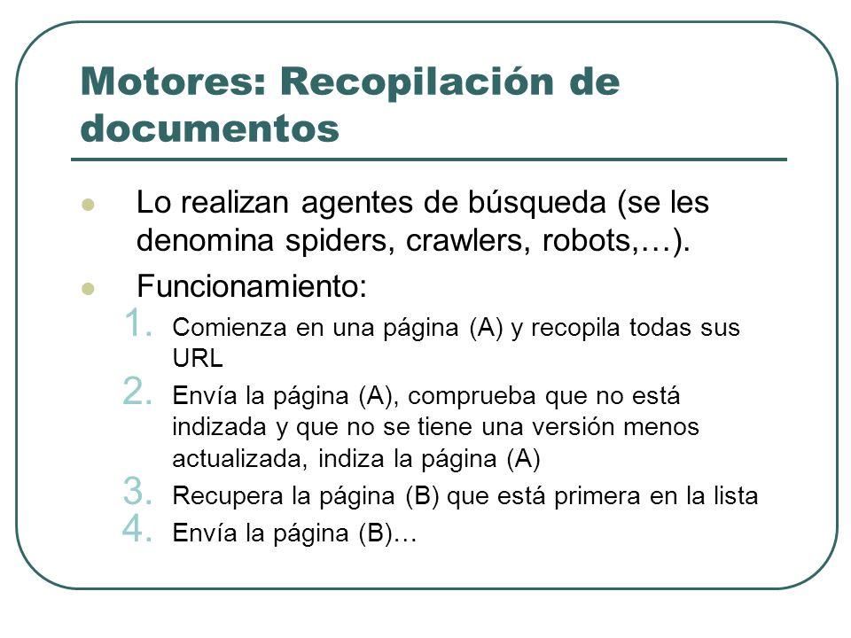 Motores: Recopilación de documentos Lo realizan agentes de búsqueda (se les denomina spiders, crawlers, robots,…). Funcionamiento: 1. Comienza en una
