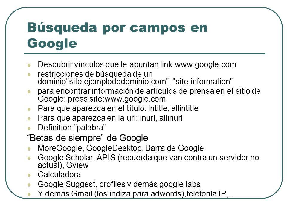 Búsqueda por campos en Google Descubrir vínculos que le apuntan link:www.google.com restricciones de búsqueda de un dominio