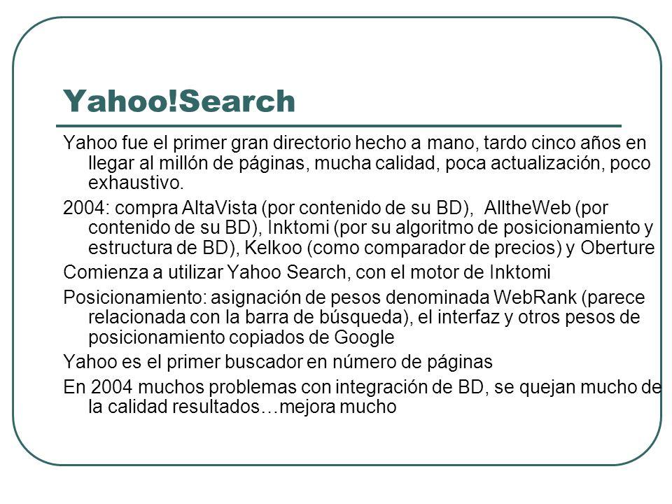 Yahoo!Search Yahoo fue el primer gran directorio hecho a mano, tardo cinco años en llegar al millón de páginas, mucha calidad, poca actualización, poc