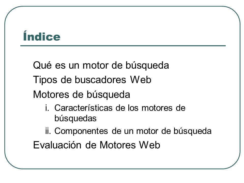 Índice Qué es un motor de búsqueda Tipos de buscadores Web Motores de búsqueda i.Características de los motores de búsquedas ii.Componentes de un moto