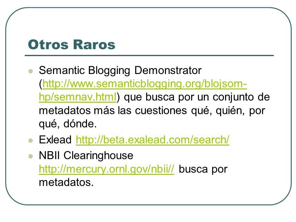 Otros Raros Semantic Blogging Demonstrator (http://www.semanticblogging.org/blojsom- hp/semnav.html) que busca por un conjunto de metadatos más las cu
