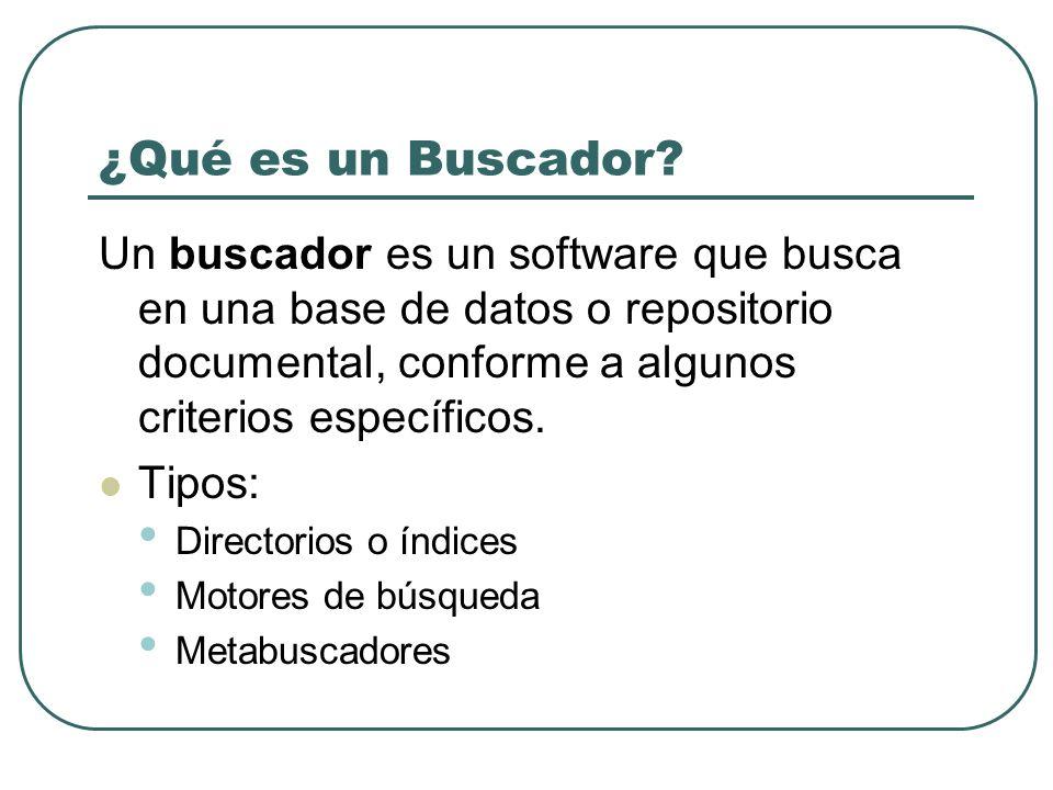 ¿Qué es un Buscador? Un buscador es un software que busca en una base de datos o repositorio documental, conforme a algunos criterios específicos. Tip