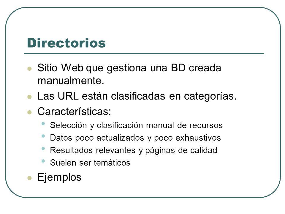 Directorios Sitio Web que gestiona una BD creada manualmente. Las URL están clasificadas en categorías. Características: Selección y clasificación man