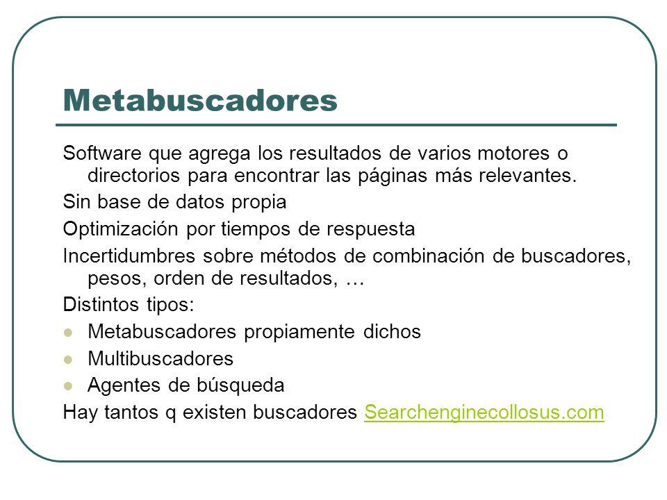 Metabuscadores Software que agrega los resultados de varios motores o directorios para encontrar las páginas más relevantes. Sin base de datos propia
