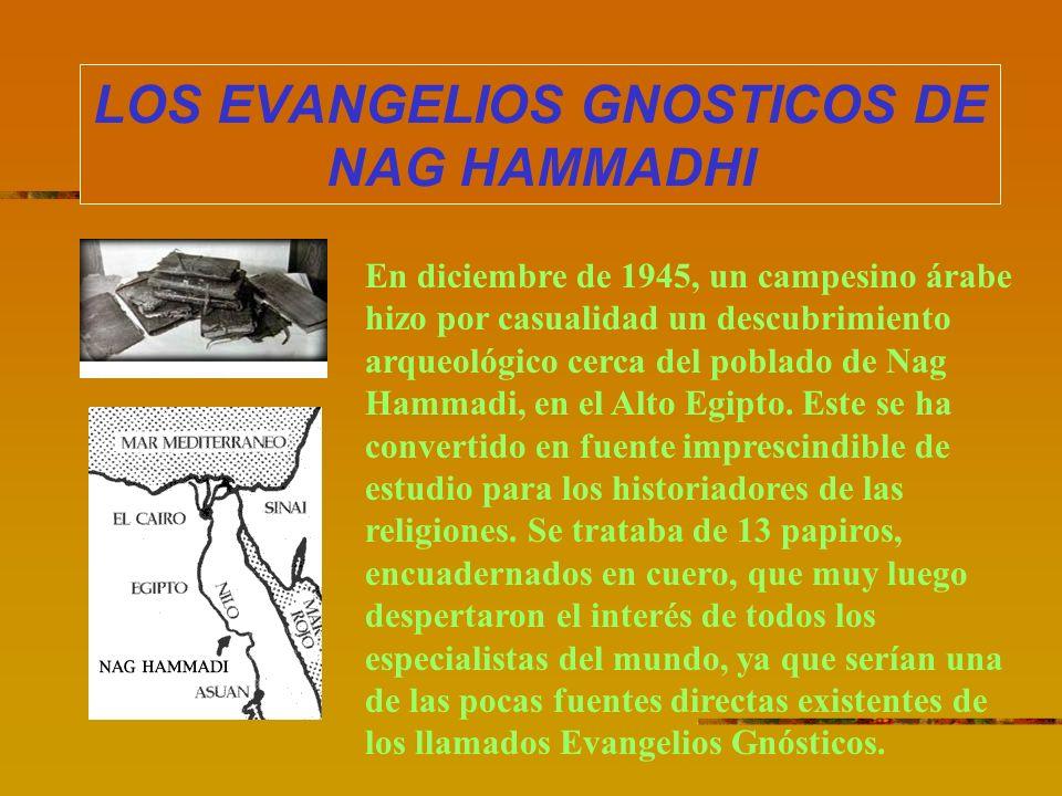 LOS EVANGELIOS GNOSTICOS DE NAG HAMMADHI En diciembre de 1945, un campesino árabe hizo por casualidad un descubrimiento arqueológico cerca del poblado
