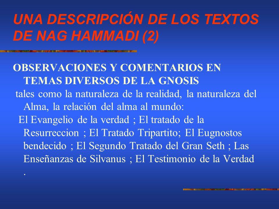 UNA DESCRIPCIÓN DE LOS TEXTOS DE NAG HAMMADI (2) OBSERVACIONES Y COMENTARIOS EN TEMAS DIVERSOS DE LA GNOSIS tales como la naturaleza de la realidad, l