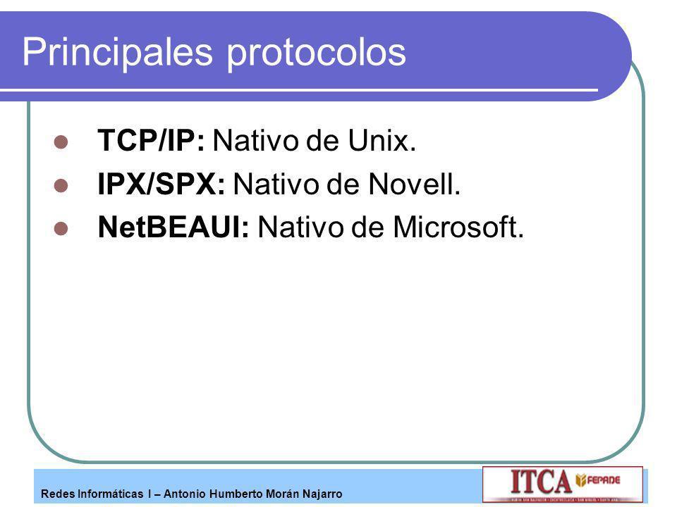 Redes Informáticas I – Antonio Humberto Morán Najarro Principales protocolos TCP/IP: Nativo de Unix. IPX/SPX: Nativo de Novell. NetBEAUI: Nativo de Mi