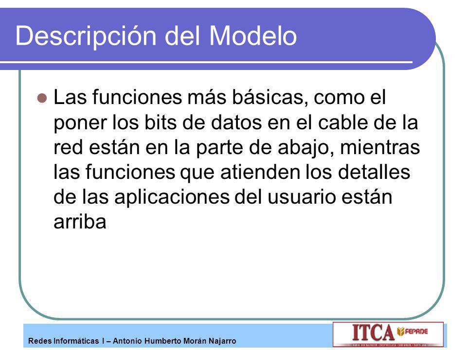 Redes Informáticas I – Antonio Humberto Morán Najarro Descripción del Modelo Las funciones más básicas, como el poner los bits de datos en el cable de