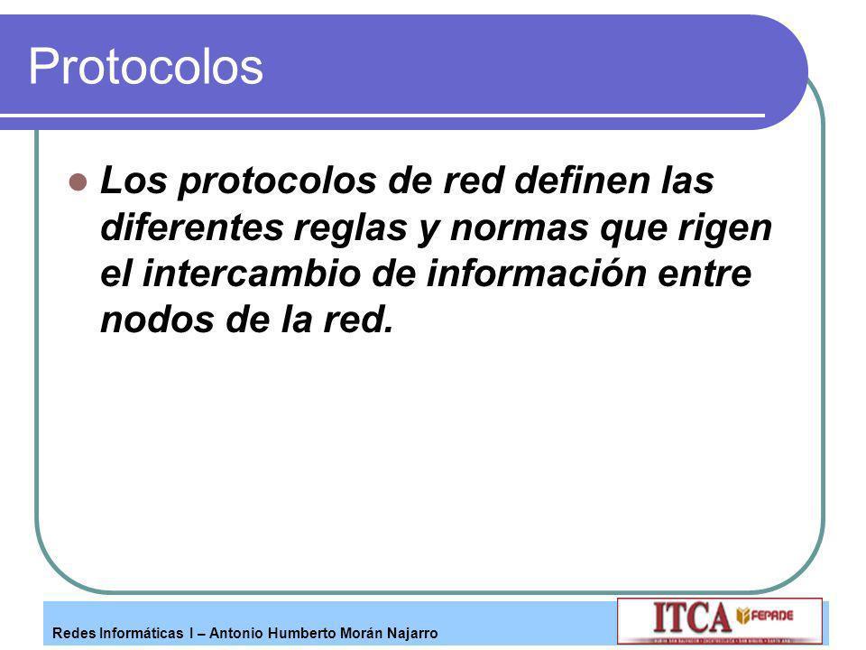 Redes Informáticas I – Antonio Humberto Morán Najarro Protocolos Los protocolos de red definen las diferentes reglas y normas que rigen el intercambio