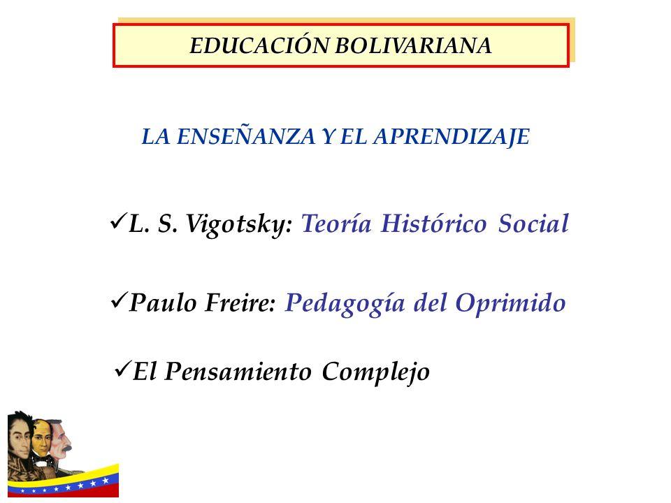 LA ENSEÑANZA Y EL APRENDIZAJE L. S. Vigotsky: Teoría Histórico Social Paulo Freire: Pedagogía del Oprimido El Pensamiento Complejo EDUCACIÓN BOLIVARIA
