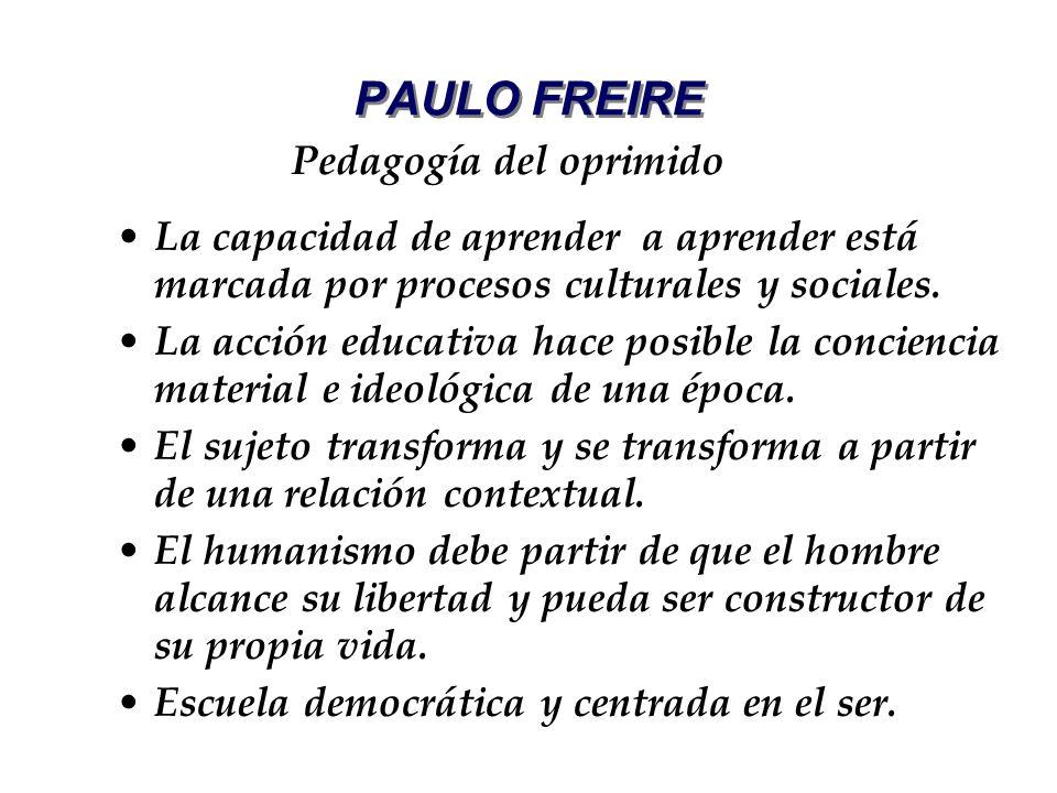 PAULO FREIRE La capacidad de aprender a aprender está marcada por procesos culturales y sociales. La acción educativa hace posible la conciencia mater