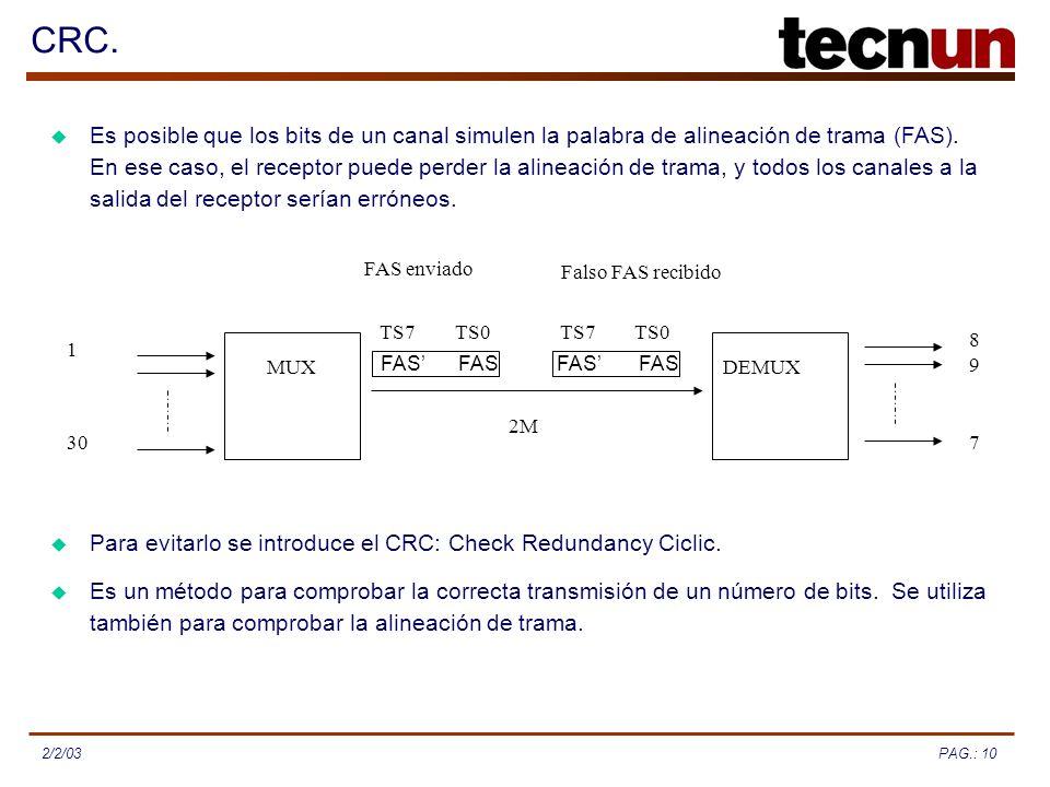 PAG.: 102/2/03 CRC. Es posible que los bits de un canal simulen la palabra de alineación de trama (FAS). En ese caso, el receptor puede perder la alin