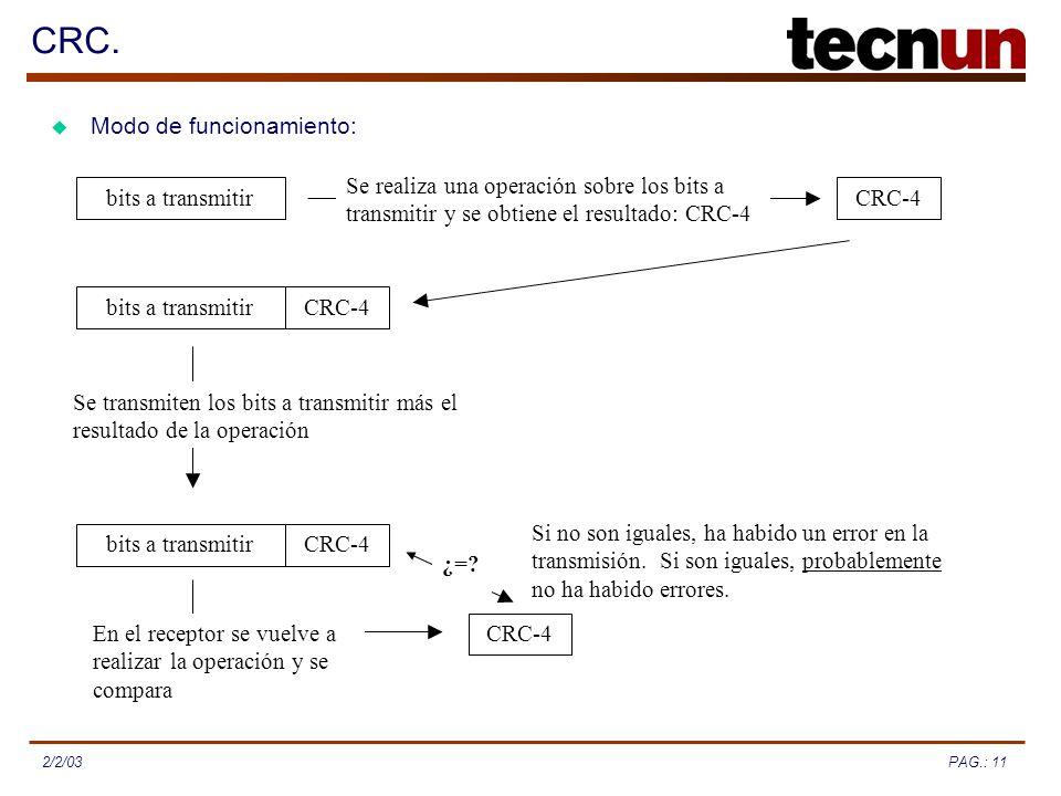 PAG.: 112/2/03 CRC. Modo de funcionamiento: bits a transmitirCRC-4 Se realiza una operación sobre los bits a transmitir y se obtiene el resultado: CRC