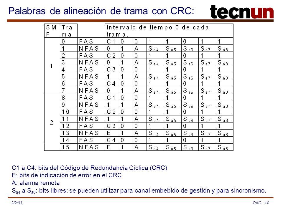 PAG.: 142/2/03 Palabras de alineación de trama con CRC: C1 a C4: bits del Código de Redundancia Cíclica (CRC) E: bits de indicación de error en el CRC A: alarma remota S a4 a S a8 : bits libres: se pueden utilizar para canal embebido de gestión y para sincronismo.