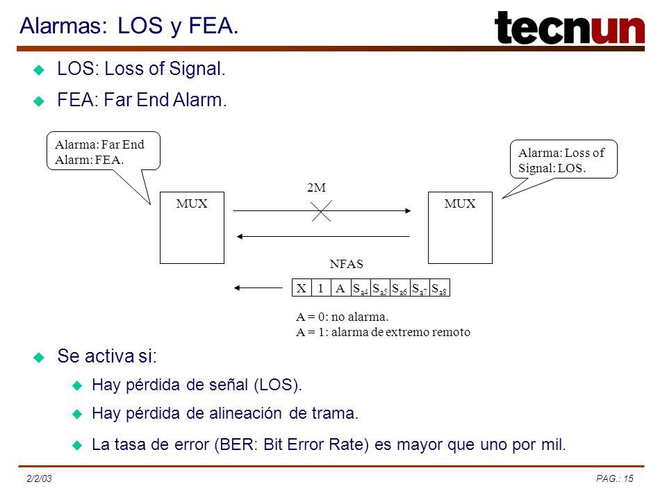 PAG.: 152/2/03 Alarmas: LOS y FEA. FEA: Far End Alarm. Se activa si: MUX 2M Alarma: Loss of Signal: LOS. Alarma: Far End Alarm: FEA. S a8 S a7 S a6 S