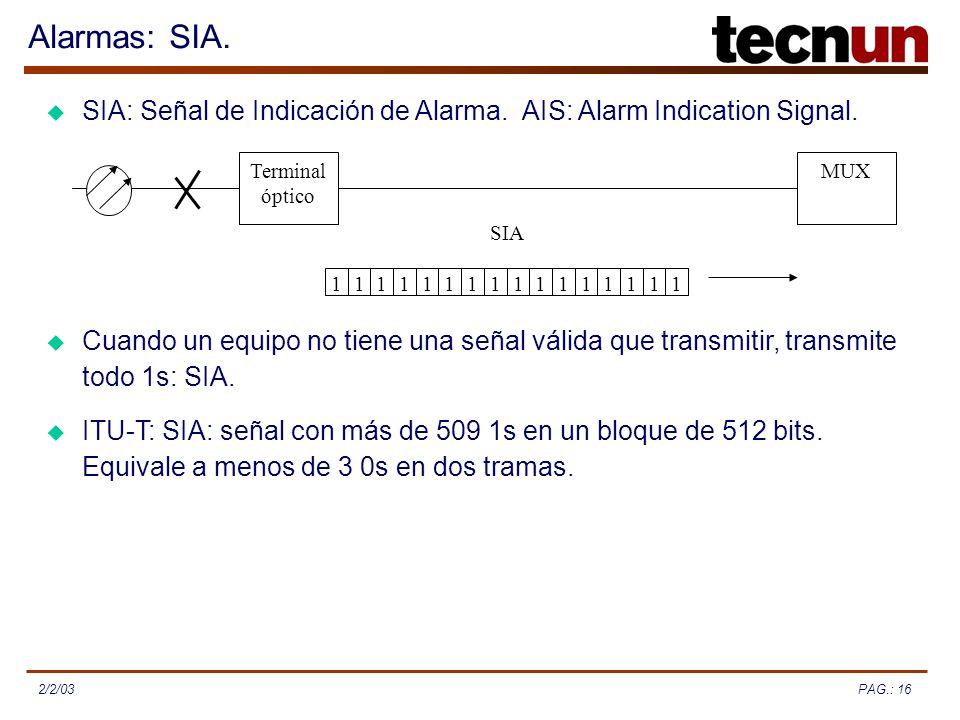 PAG.: 162/2/03 Alarmas: SIA. SIA: Señal de Indicación de Alarma. AIS: Alarm Indication Signal. Cuando un equipo no tiene una señal válida que transmit