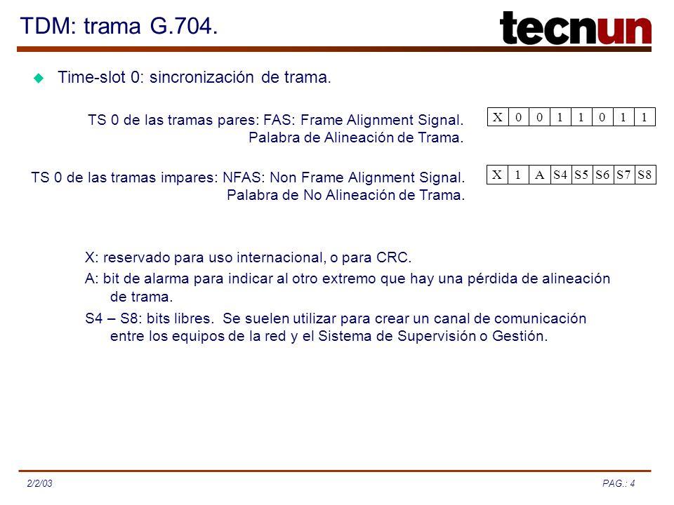 PAG.: 42/2/03 TDM: trama G.704. 1101100X TS 0 de las tramas pares: FAS: Frame Alignment Signal. Palabra de Alineación de Trama. S8S7S6S5S4A1X TS 0 de