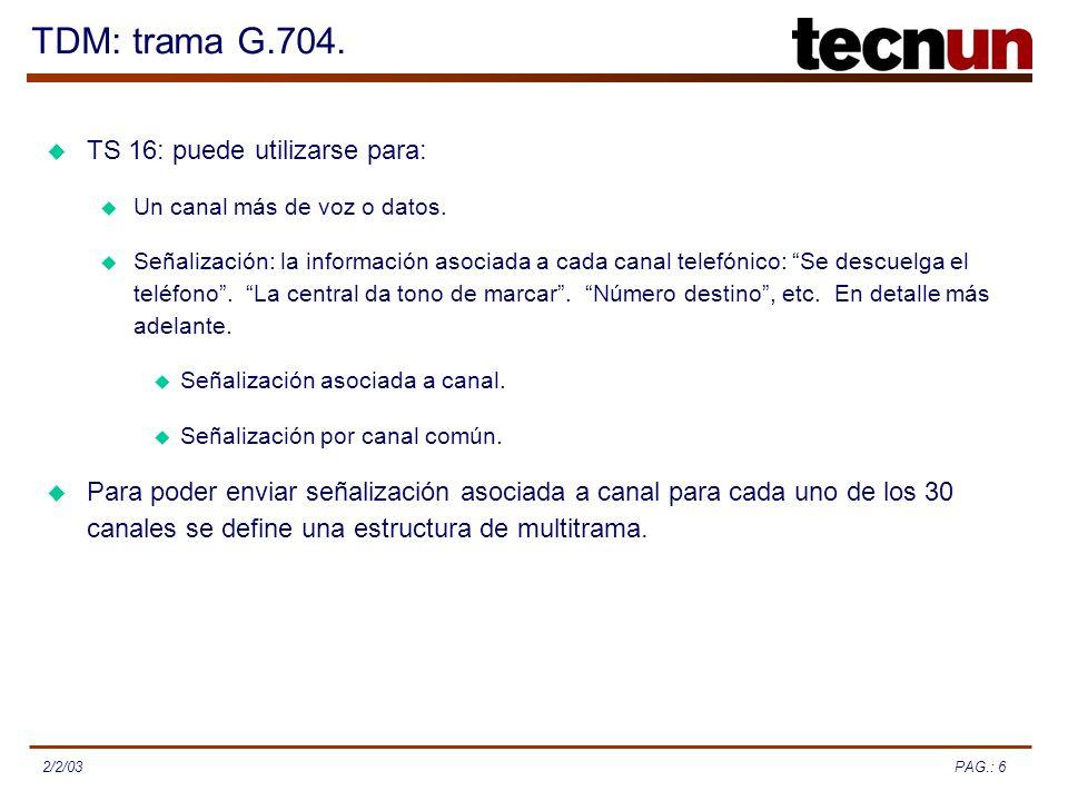 PAG.: 62/2/03 TDM: trama G.704. TS 16: puede utilizarse para: Para poder enviar señalización asociada a canal para cada uno de los 30 canales se defin