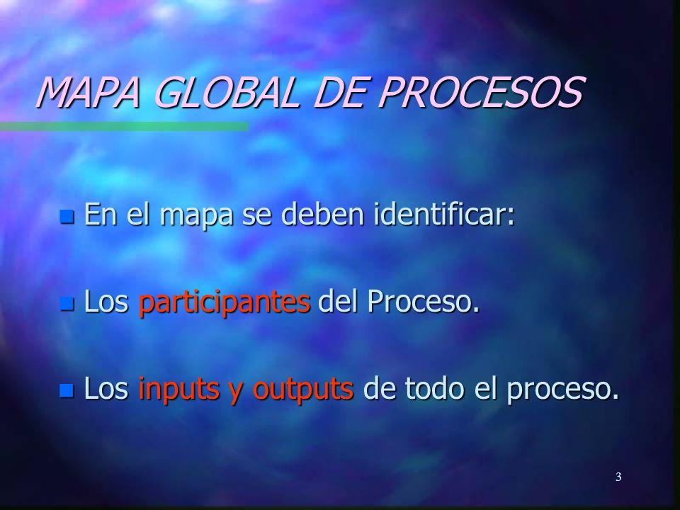 4 MAPA GLOBAL DE PROCESOS n Los pasos o actividades dentro de un proceso.