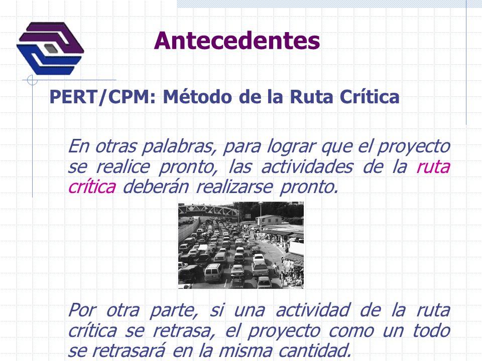 Antecedentes PERT/CPM: Método de la Ruta Crítica Las actividades que no están en la ruta crítica tienen una cierta cantidad de holgura; es decir, pueden empezar más tarde y permiten que el proyecto como un todo se mantenga conforme a lo programado.