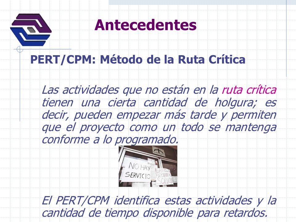 Antecedentes PERT/CPM: Método de la Ruta Crítica Las actividades que no están en la ruta crítica tienen una cierta cantidad de holgura; es decir, pued