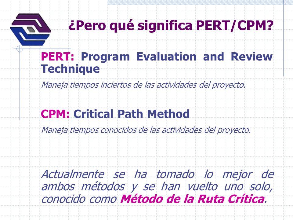 ¿Pero qué significa PERT/CPM? PERT: Program Evaluation and Review Technique Maneja tiempos inciertos de las actividades del proyecto. CPM: Critical Pa